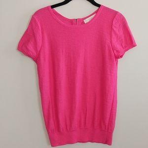 LOFT Short Sleeve Pink Sweater Zip Back Size S